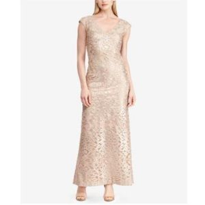 RALPH LAUREN Embroidered Gown V Neck Evening Dress